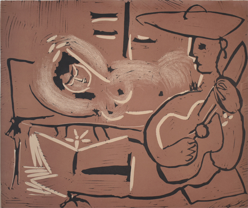 Pablo PICASSO - Stampa Multiplo - Woman Reclining and Guitarist | Femme couchée et guitariste