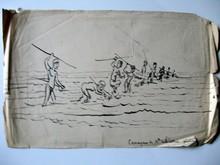 Léon Gabriel COFFINIERES DE NORDECK - Dibujo Acuarela - Pêche des canaques à la sagaï