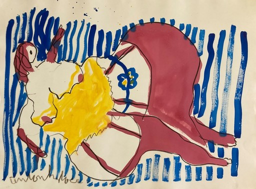 Anton HEIJBOER - Zeichnung Aquarell - Can -Can Dancer