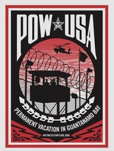 "Shepard FAIREY - Stampa Multiplo - ""Permanent vacation in Guantanamo Bay"""