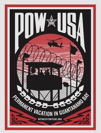 "Shepard FAIREY - Estampe-Multiple - ""Permanent vacation in Guantanamo Bay"""