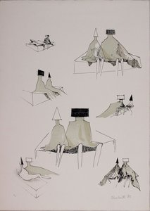 Lynn Russell CHADWICK - Grabado - Sketches for sitting couples