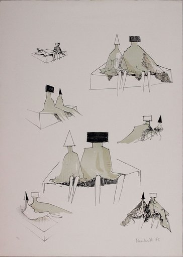 Lynn Russell CHADWICK - Print-Multiple - Sketches for sitting couples