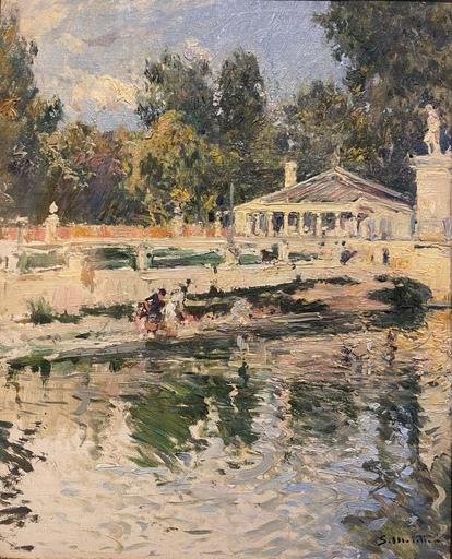 Segundo MATILLA MARINA - Gemälde - Figuras en el parque