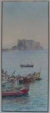 Vincenzo LORIA - Dessin-Aquarelle - pêcheurs à Naples