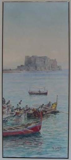Vincenzo LORIA - Dibujo Acuarela - pêcheurs à Naples