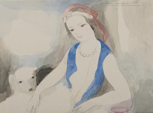 マリー・ローランサン - 水彩作品 - Jeune fille au chien