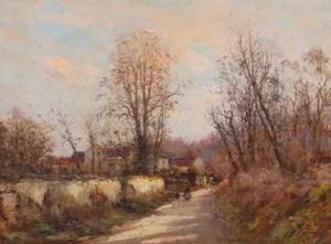 """Jean Eugène Julien MASSÉ - Painting - Allée Corot à Luzancy """"Une femme et un enfant"""""""