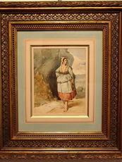 Francisco de Paula BRINGAS Y BRINGAS - Dibujo Acuarela - Pescadora