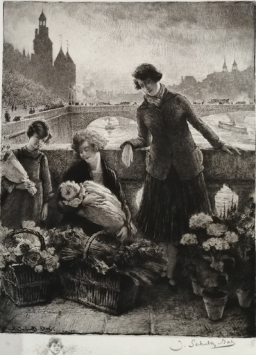 Jacques Georges SCHULTZ - DAL - Grabado - Marchande de fleurs