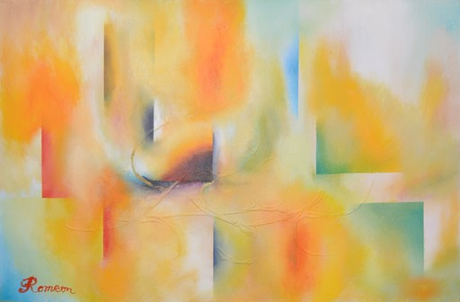 Romeo DOBROTA - Painting - Few steps on the sky,