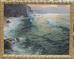 Karl Theodor BÖHME - Painting - Evening in Biarritz