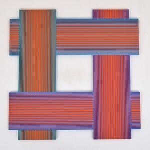 Richard Joseph ANUSZKIEWICZ - Pittura - Large Richard Anuszkiewicz Mixed Media Relief Painting