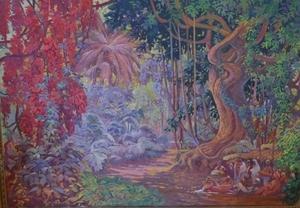 Jean-Louis PAGUENAUD - Pittura - Jardin Botanique de Pondichery