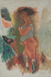 Jules PASCIN - Painting - Femme en Chemise Bleue