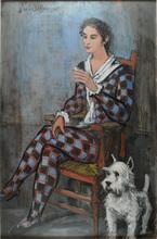 Ismaël DE LA SERNA - Painting - ARLEQUIN Y SU PERRO