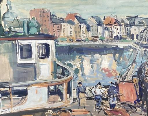 Raymonde VOISIN - Drawing-Watercolor - Chalutier à quai