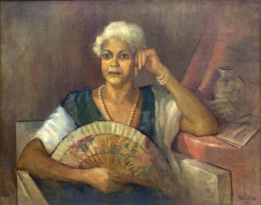 "Angel ACOSTA LÉON - Painting - ""Retrato de Mi Tia"""