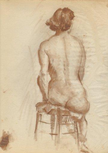 Gretchen WOHLWILL - Disegno Acquarello - Sitzender weiblicher Rückenakt