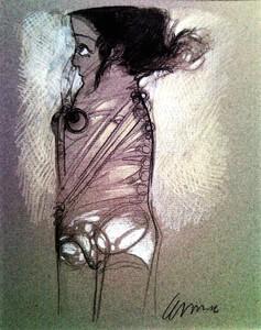 Pedro Pablo RODRIGUEZ OLIVA - Disegno Acquarello - Muchacha tocándose la Nariz (Young girl touching her noise)