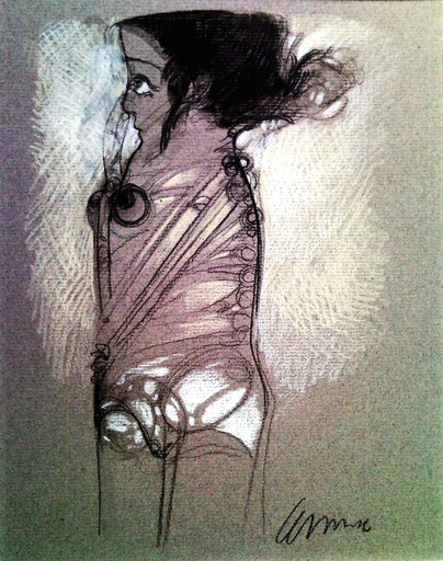 Pedro Pablo OLIVA - Drawing-Watercolor - Muchacha tocándose la Nariz (Young girl touching her noise)