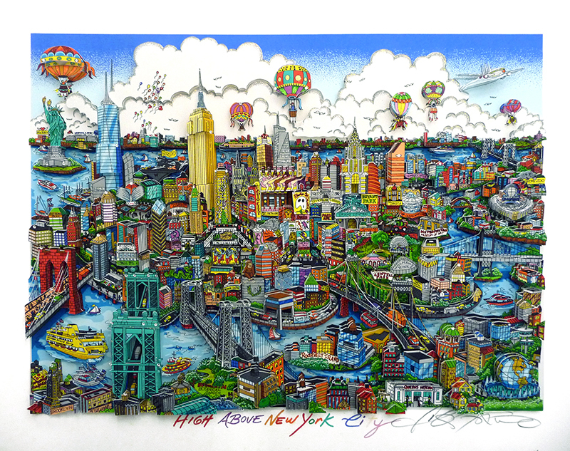Charles FAZZINO - Grabado - High above New York
