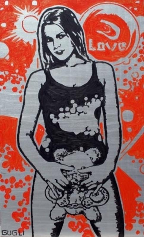 Laurent GUGLI - Pittura - Orange Love au Petit Nounours