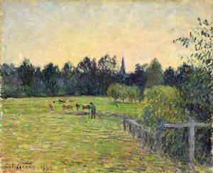 Camille PISSARRO - Painting - Vacher dans un Pré à Éragny