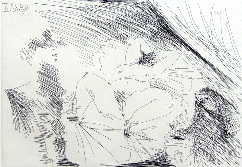 Pablo PICASSO - Print-Multiple - Young Woman on a Bed, Procuress and Gentleman, from: La Suit