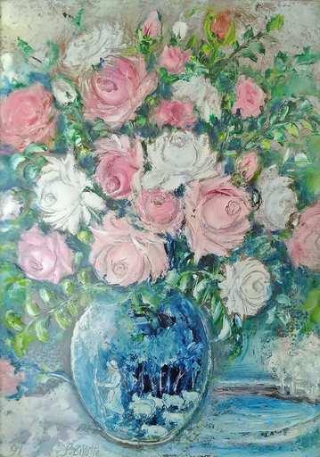 Luigi BISOTTI - Painting - Rose con vaso