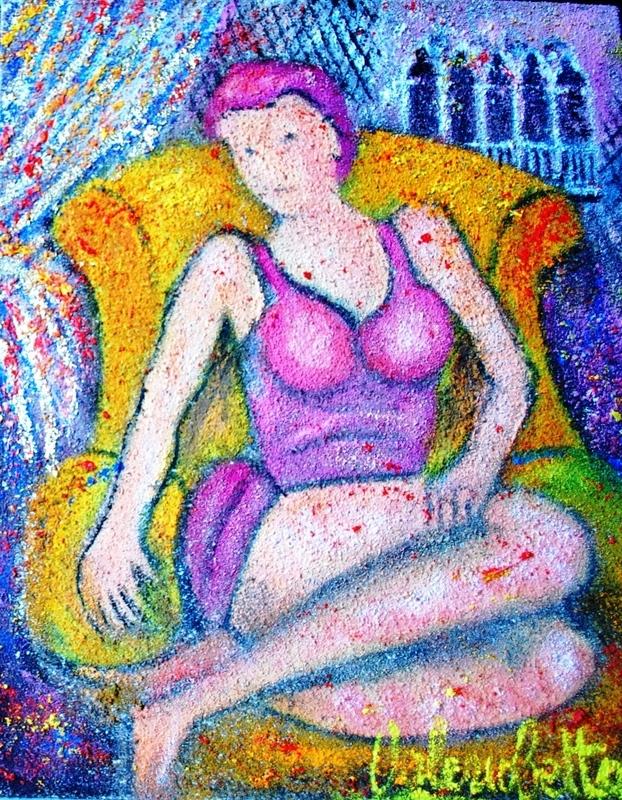 Valerio BETTA - Painting - Modella a Venezia su divano giallo