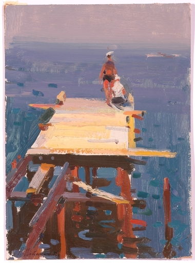 "Andrei Ilech POTAPENKO - Painting - ""On a Peer"", Oil Painting, 1959"