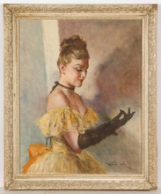 """Pal FRIED - Painting -  """"Black gloves"""" oil on canvas, ca. 1950"""
