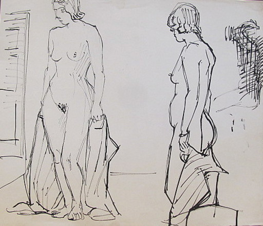 Erich HARTMANN - Disegno Acquarello - #19897: Akt 2 stehende Frauen.