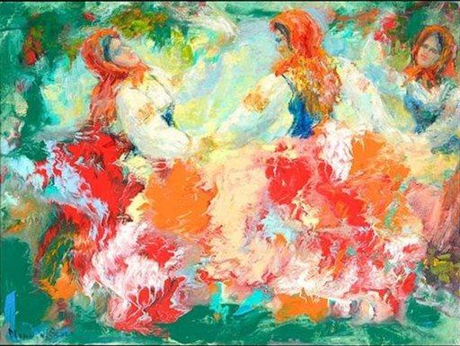 "Nina Woloshukova SCULL - Painting - ""Folk Festival"""