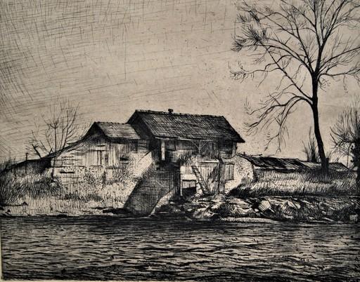 Aurèle René BARRAUD - Stampa-Multiplo - Maison en bord de rivière.