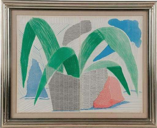 David HOCKNEY - Print-Multiple - GREEN, GREY, & BLUE PLANT, JULY 1986