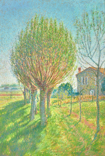 Achille LAUGÉ - Drawing-Watercolor - L'allée de saules derrière l'Alouette, maison de l'artiste