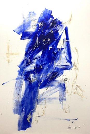 Nicole LEIDENFROST - Gemälde - bull - abstract - blue