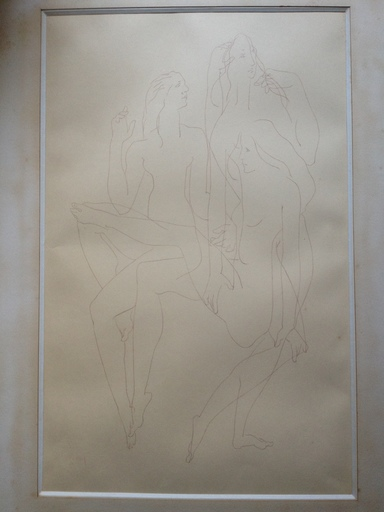Joseph CSAKY - Drawing-Watercolor - 3 FEMMES  NUES
