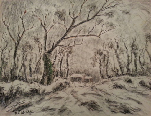 Fernand LAVAL - Drawing-Watercolor - Paysage d'hiver