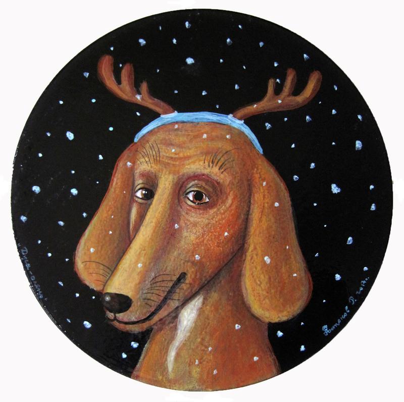 Roman ANTONOV - Painting - Dusya-deer