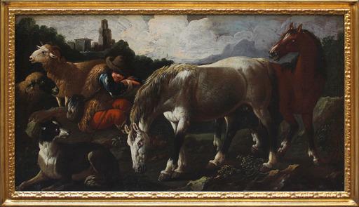 Gaetano DE ROSA - Painting - Pastore con armenti