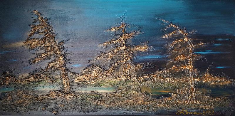 Romeo DOBROTA - Painting - Canadian Subarctic Night, Acrylic, mixed media on canvas