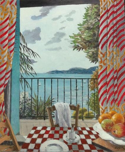 Jacques AUGER - Pintura - interieur à la nappe à carreaux