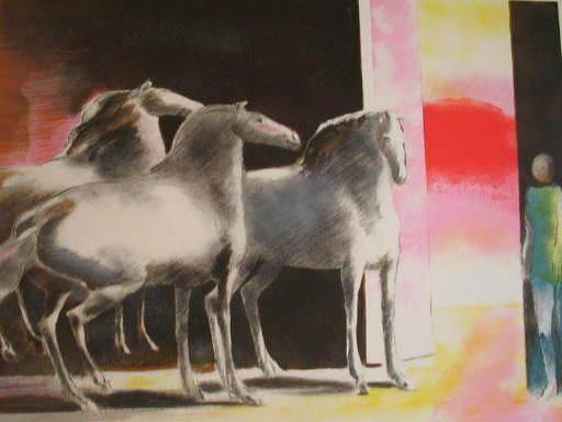 Paul GUIRAMAND - 版画 - Trois chevaux et personnage,1990.