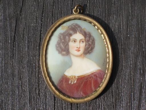 Jules DUPRÉ - Miniatura - Bildnis einer jungen Frau