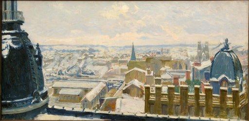 """Albert HOREL - Pintura - """"NEIGE SUR LES TOITS DE REIMS"""""""