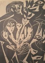 Helmut Andreas Paul GRIESHABER - Grabado - Figure ,Flower and Birds