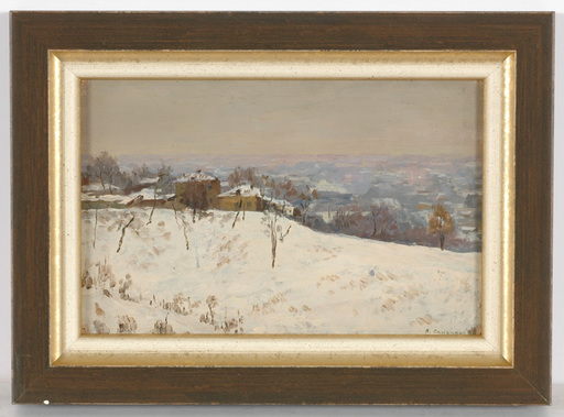 "Vladimir M. SINITSKI - Painting - ""Winter in Suburbs"", Oil Painting, 1948"